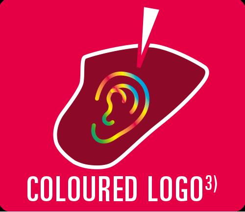 "Earmould option ""Coloured logo"""