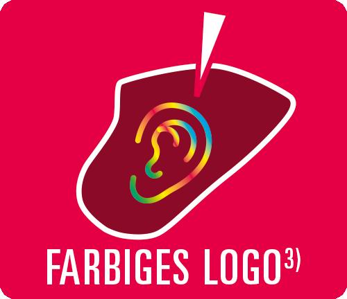 Otoplastik mit farbigem Logo